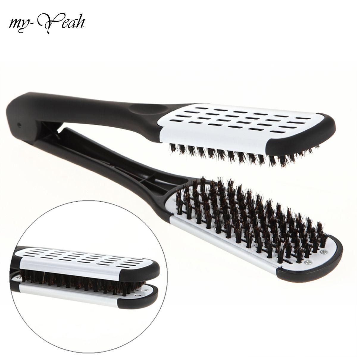 Pro lisseur de coiffure céramique défriser les cheveux Double brosses V forme peigne pince pas mal outils de coiffure
