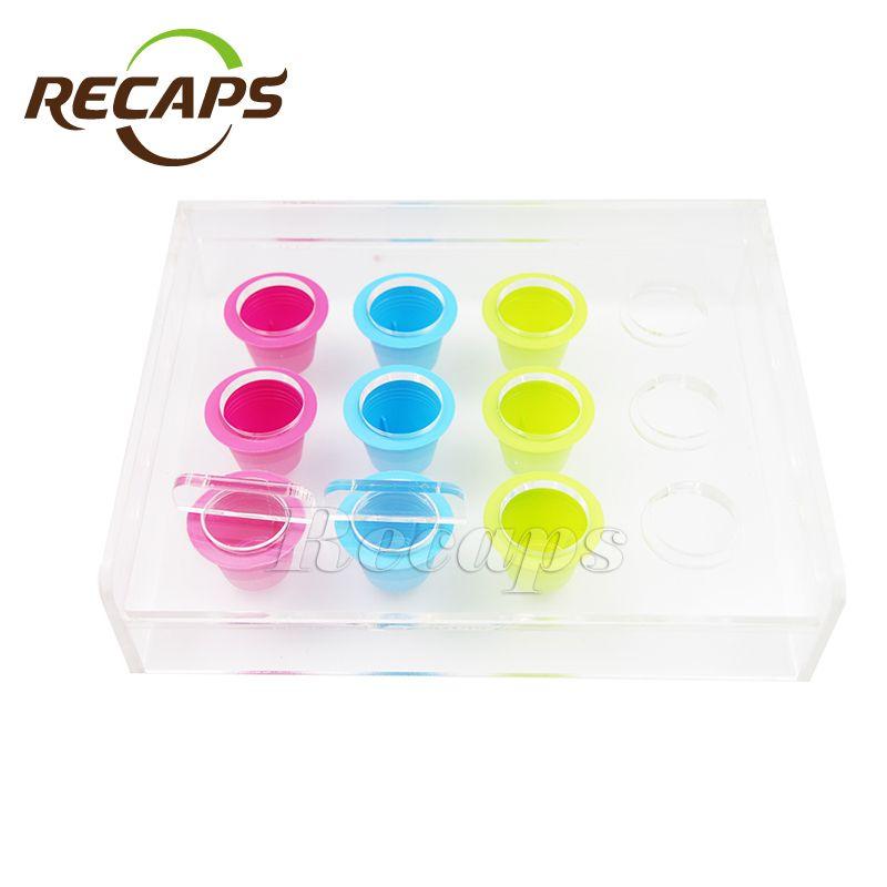 Boîte à outils de remplissage acrylique de Capsule de café de Nespresso de 12 capsules remplissant le support de dispositif pour les Capsules jetables de café de Nespresso