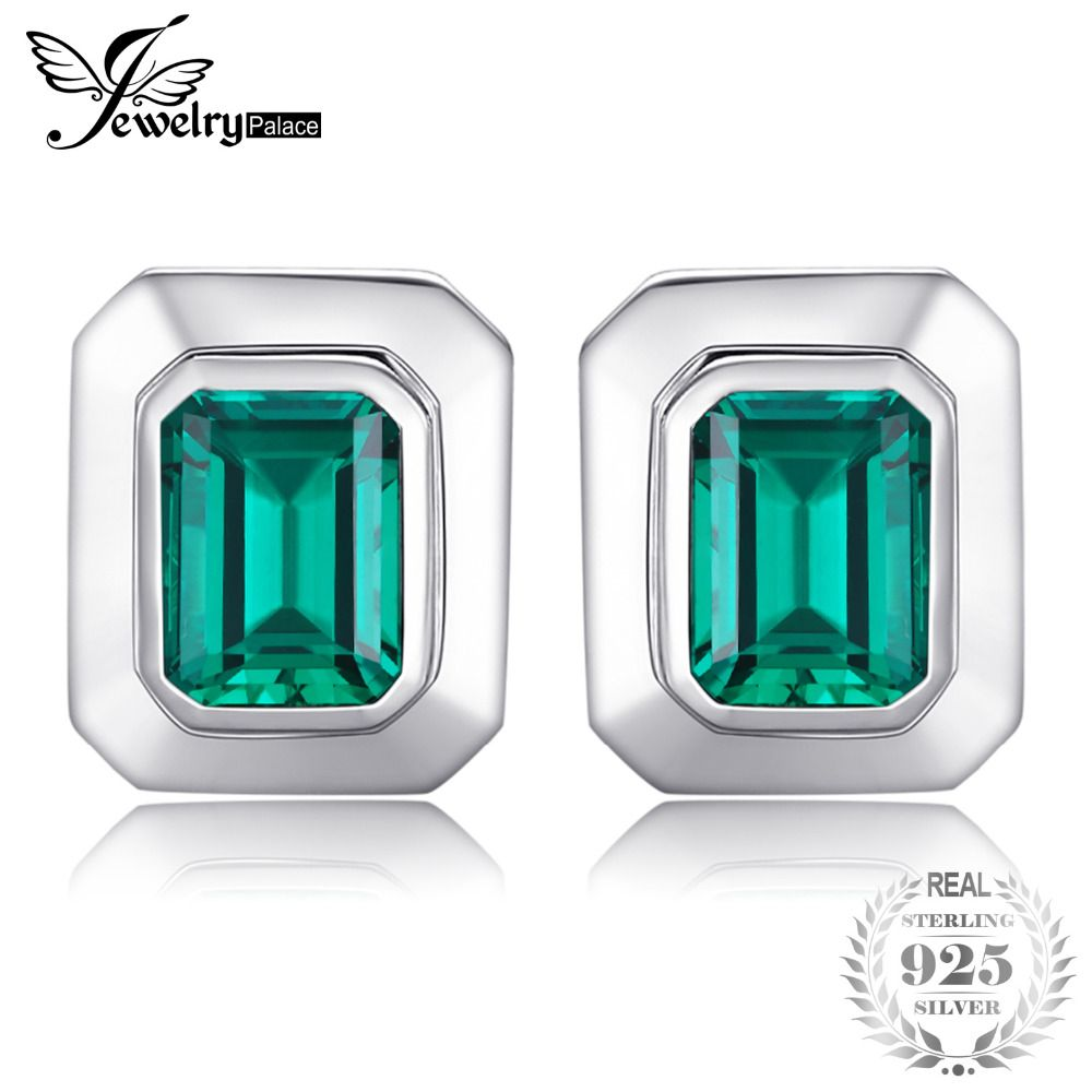 JewelryPalace Charms 4ct Created Emerald Cufflinks 100% Real 925 Sterling Sliver Luxury Brand Cufflinks For Men Vintage Jewelry