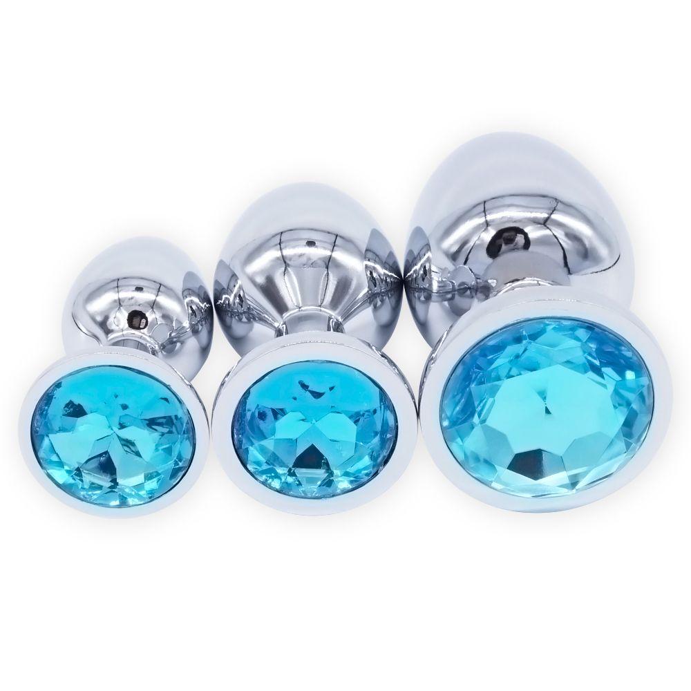 DOMI 3 pièces/ensemble petit moyen grand en acier inoxydable Plug Anal en métal gode jouets sexuels produits godemichet Anal perles anales gaies