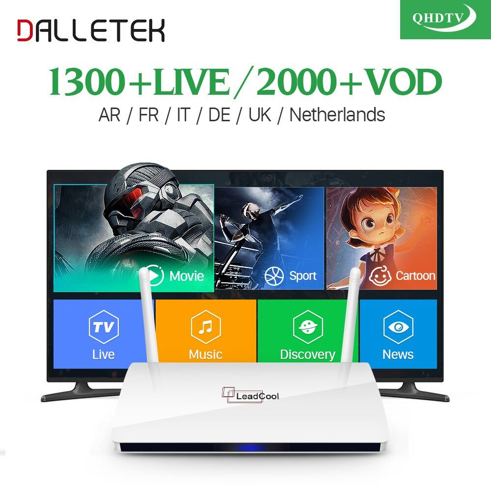 Leadcool QHDTV IPTV Box 1 Year Subscription Europe French Italia 1300 Channels Dalletektv Android 6.0 TV Box Arabic IPTV Top Box