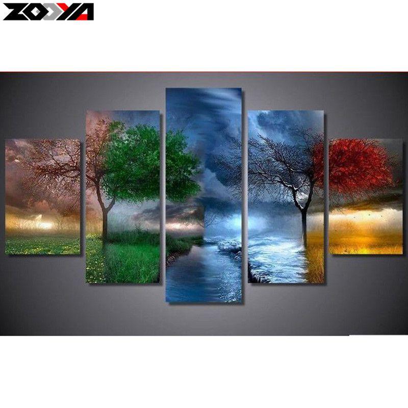 ZOOYA 5D DIY Diamond embroidery four season tree full square diamond Painting Cross Stitch Rhinestone Mosaic home decoration JX