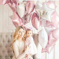 12 piezas bebé ducha 18 pulgadas Rosa Blanco estrella helio Foil globos niñas Feliz cumpleaños partido suministros 1st decoración del partido bola de aire