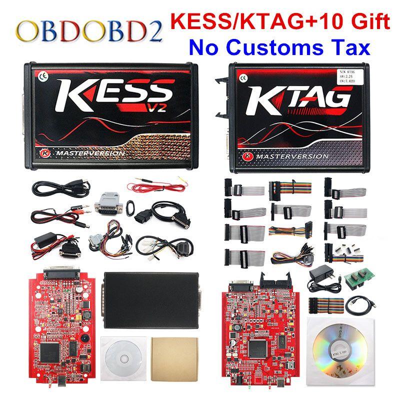 En ligne rouge EU KESS V2 5.017 V2.47 Ktag V7.020 OBD2 gestionnaire Kit de réglage KESS V5.017 4 LED k-tag V2.25 BDM cadre ECU programmeur