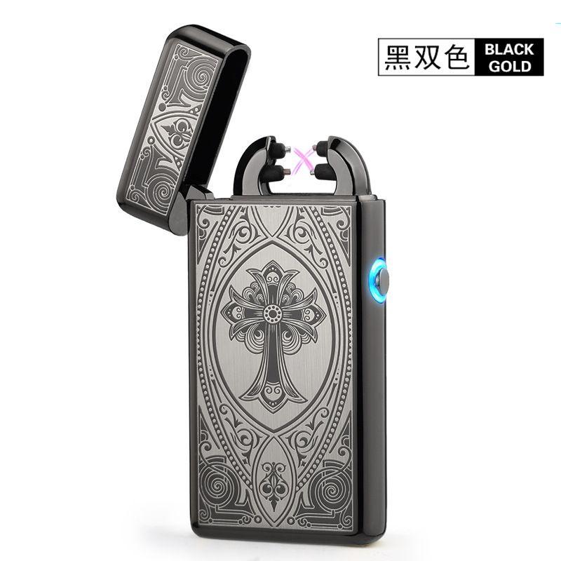 Noble delgada 11mm LED humo cruz doble arco Mecheros pulso USB cigarro Sopletes hombres Mecheros con caja de regalo 8014