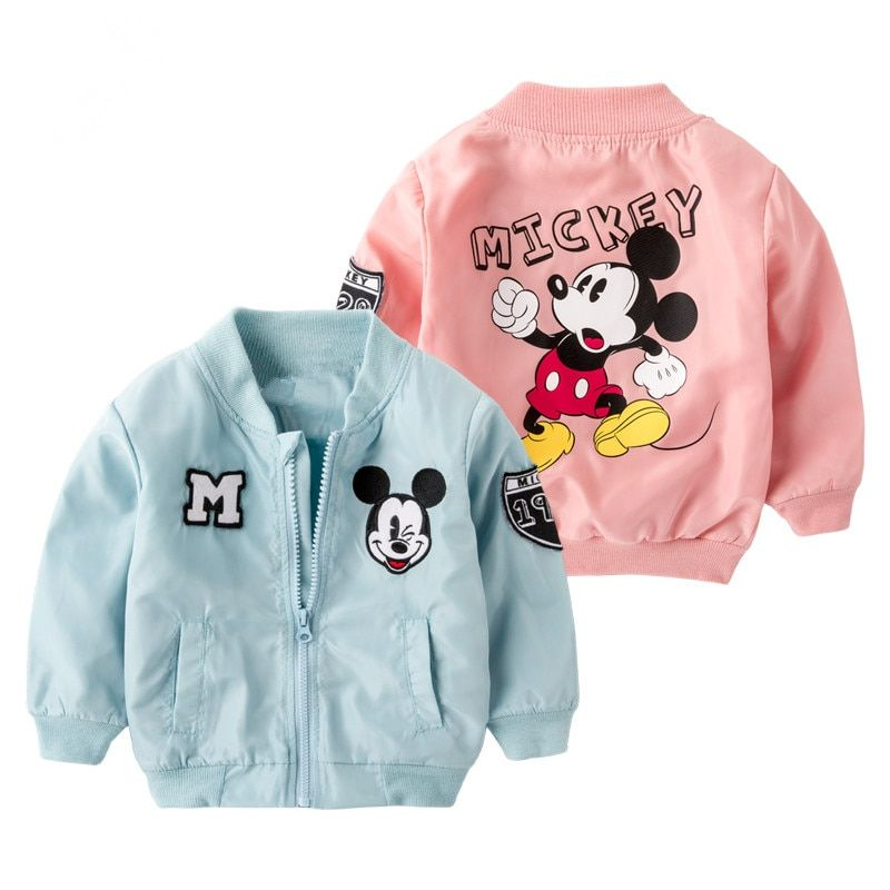 Spring Mickey Jacket for Baby Boys Girls Coat Kids Cartoon Cotton Outwear Toddler Long Sleeve Blazer Children Clothes Costume