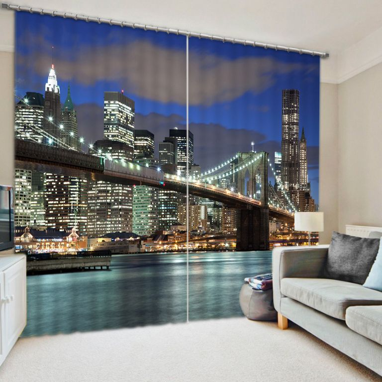 Window Treatments 3D Printing Curtain Beautiful city night view Window Curtains For Living Room Ready Made Curtains
