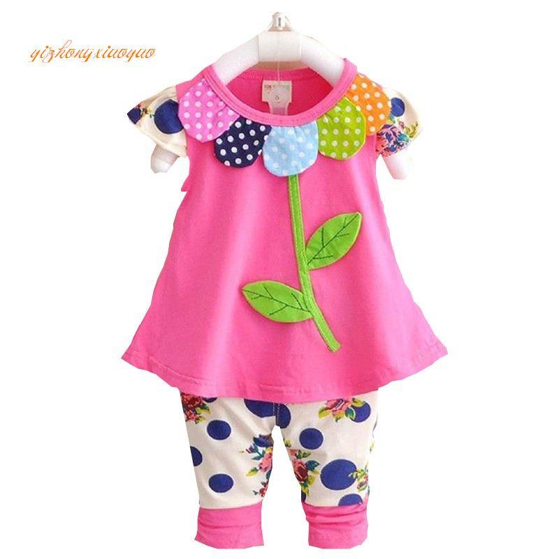 2016 Enfants Bébé Fille Vêtements Ensemble Bowknot D'été Floral T-shirts Tops et Pantalons Leggings 2 pcs Mignon Enfants Tenues Filles ensemble