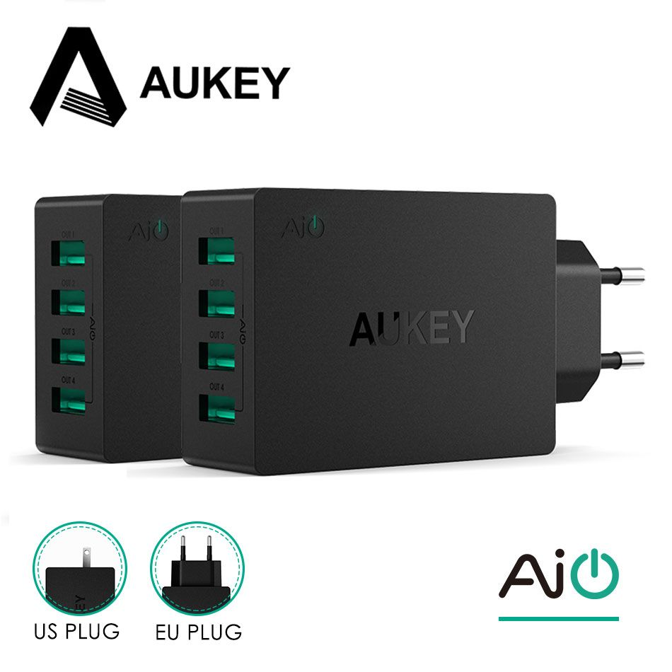 AUKEY 3/4 Ports USB Phone Charger Mobile Fast Wall Charger For iPhone 6s 7/8/X/Plus iPad Samsung S8 Xiaomi Mi7 <font><b>Tablet</b></font> Power Bank