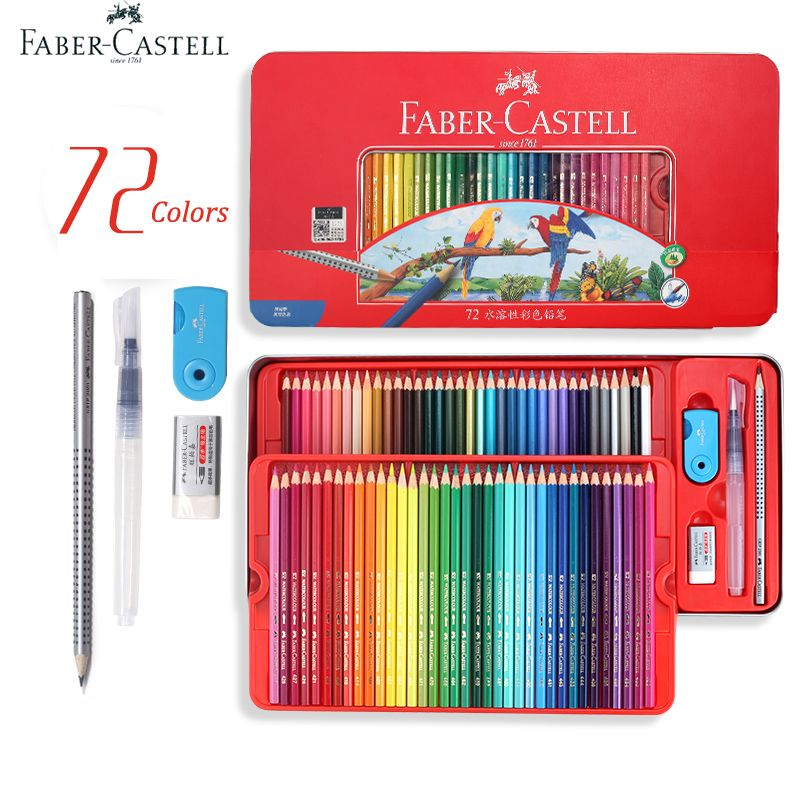 Faber Castell Professional Watercolor Pencils in Storage Tin 60/72 Multi Colored Art Drawing Pencils in Bright Shades,Layering
