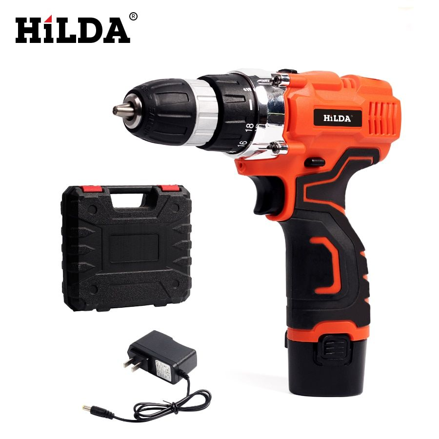 HILDA Electric Drill Cordless drill screwdriver Lithium Battery Furadeira Cordless Screwdriver Power Tools with Plastic case