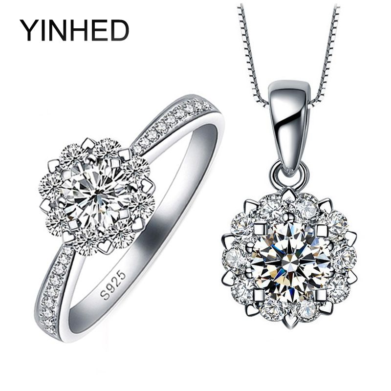 YINHED Romantic Snow Flower Bridal Wedding Jewelry Sets 925 Sterling Silver Cubic Zirconia Pendant Necklace & Ring Set ZS038