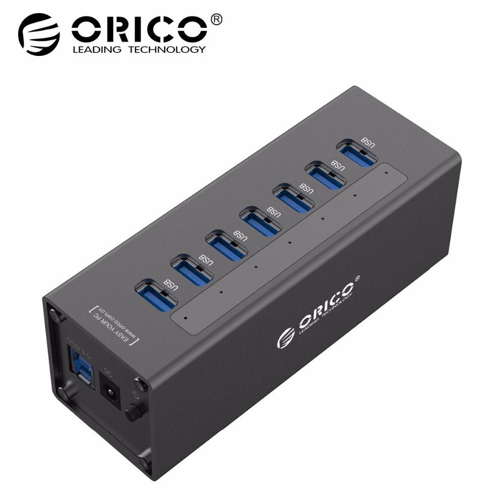 ORICO A3H7 USB 3.0 HUB High Speed Aluminium 7 Port USB 3.0 HUB Für PC/Laptop-Schwarz