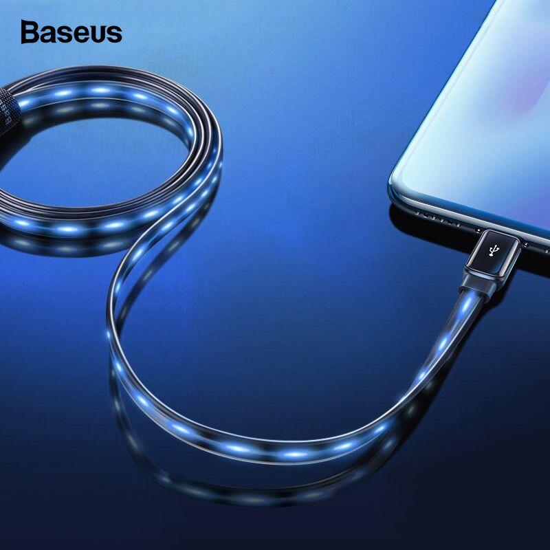 Baseus Flache Fließende LED Glow USB Kabel Für iPhone XS Max XR Draht 2.4A Schnelle Lade Ladegerät Datenkabel Für iPhone X 8 7 6 6 s Plus
