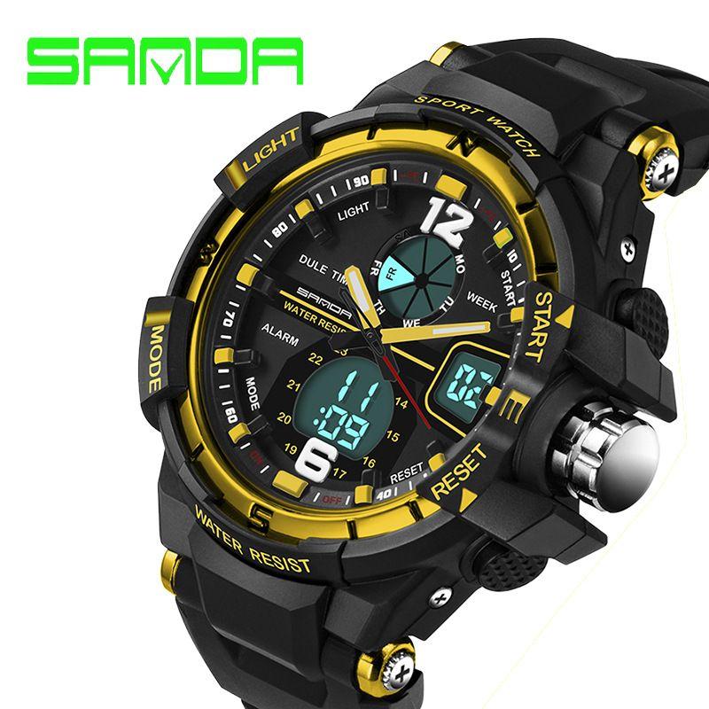 SANDA top marque de luxe montre de sport de mode montre militaire hommes horloge mâle LED étanche montre numérique Relogio Masculino