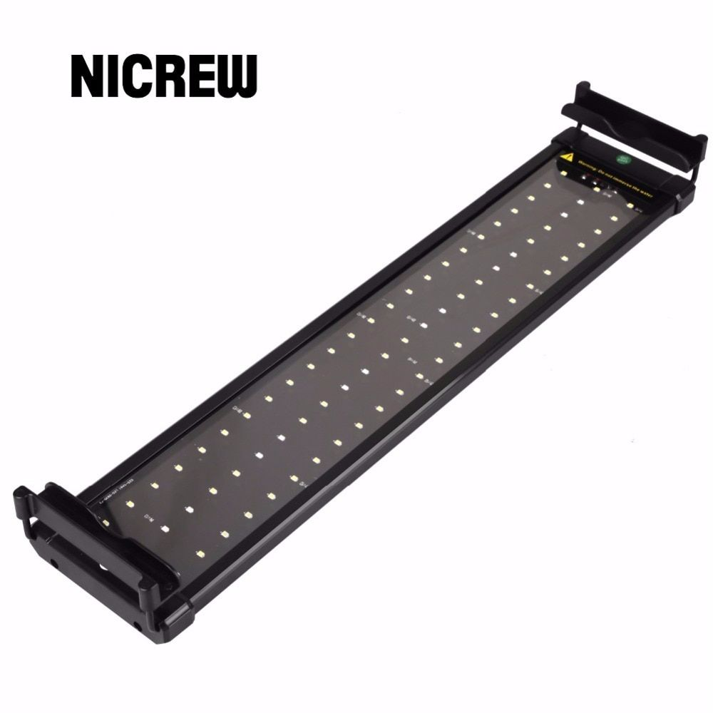 Nicrew 50-68cm Aquarium LED Lighting Fish Tank Light Lamp with Extendable Brackets 60 White and 12 Blue LEDs Fits for Aquarium