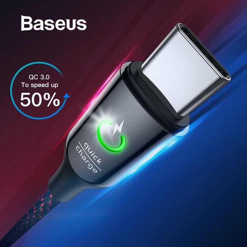 Baseus USB type C Câble pour Xiaomi Redmi Note 7 Pro Chargent Vite 3.0 USB C Câble Intelligent Mise Hors Tension LED USB C capable pour Xiaomi8