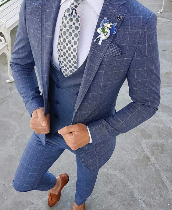 Personnalisé bleu clair deux boutons Style de rue hommes Slim Fit costume/encoche revers hommes costumes de mariage (veste + pantalon + gilet)