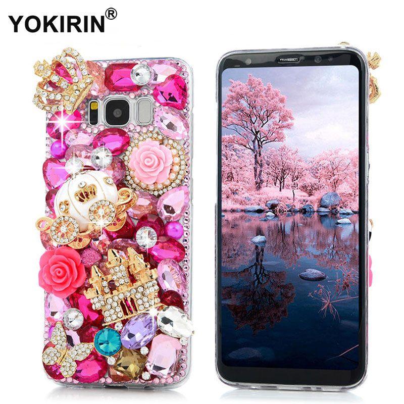 YOKIRIN 3D Bling Diamant Capa Transparent Funda Dur de Couverture Arrière PC Strass Cas de Téléphone Pour Samsung Galaxy S8/S8 Plus
