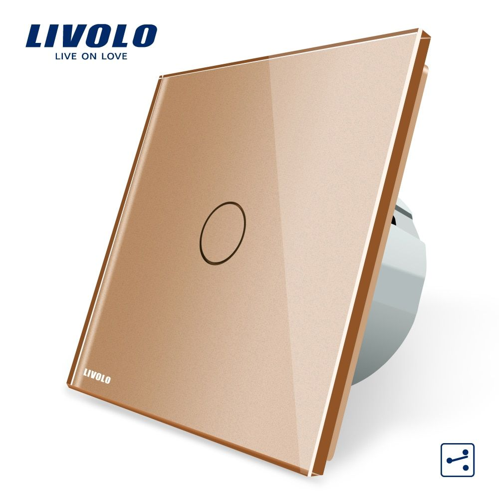 Livolo EU Standard Wall Switch 2 Way Control Switch, Golden Glass Panel, Wall Light Touch Screen Switch,AC 220~250V, VL-C701S-13