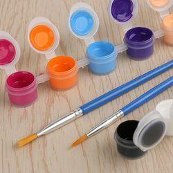 6/12/18/24 Colors With 2 Paint Blue Brushes Per Set Acrylic Paints For Oil Painting Nail Art Clothes Art Digital Random Color