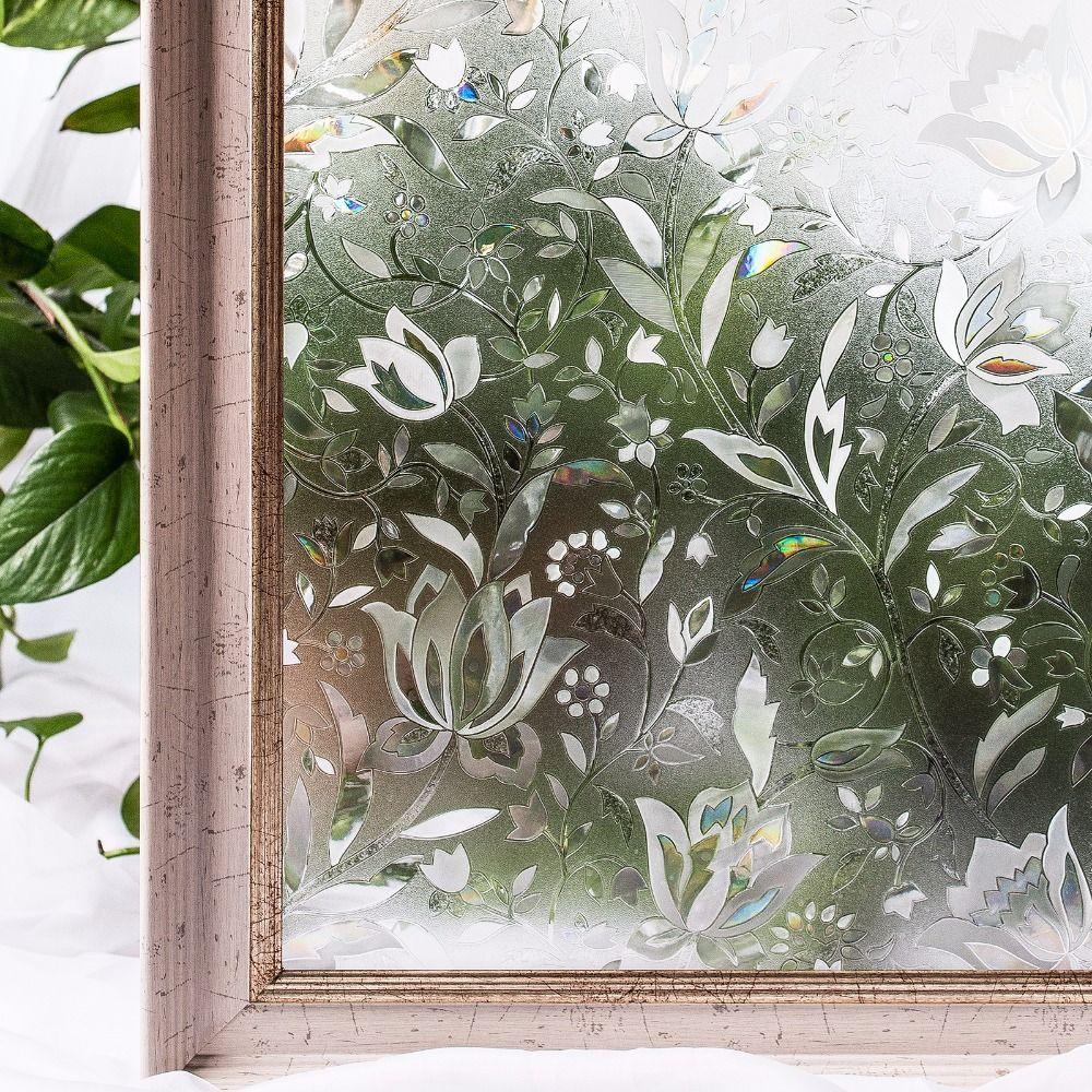CottonColors Chambre Salle De Bains PVC Fenêtre Films Sur La Vie Privée Sans Colle 3D Fleur Statique Décoration Fenêtre En Verre Autocollant Taille 60x200 cm