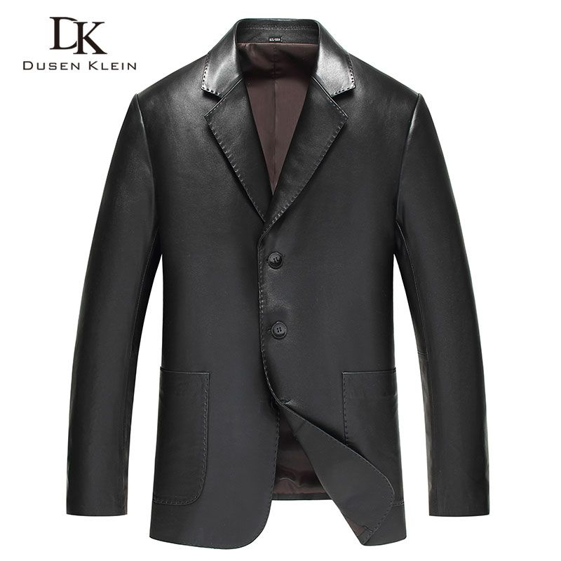 Dusen Klein Men's leather jackets Genuine sheepskin Leather Suit 2018 New Business style Plus size 5XL 81Y13