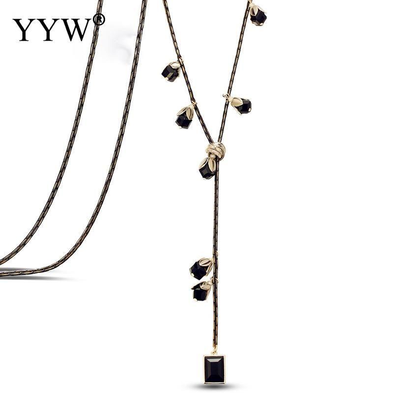 Trendy Charm Big Crystal Necklace Black Long Pendant for Women Bijoux Luxury Necklace & Pendant Women's Jewelry Gift
