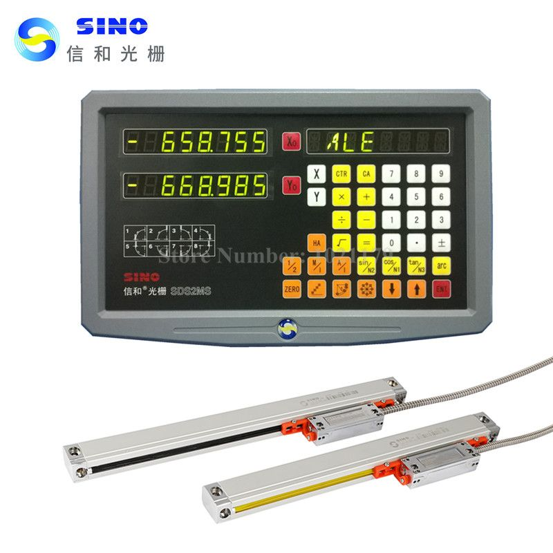 New Original Sino SDS2MS 2 axis digital readout DRO kit and 2 pieces SINO KA300 linear scale linear encoder ruler