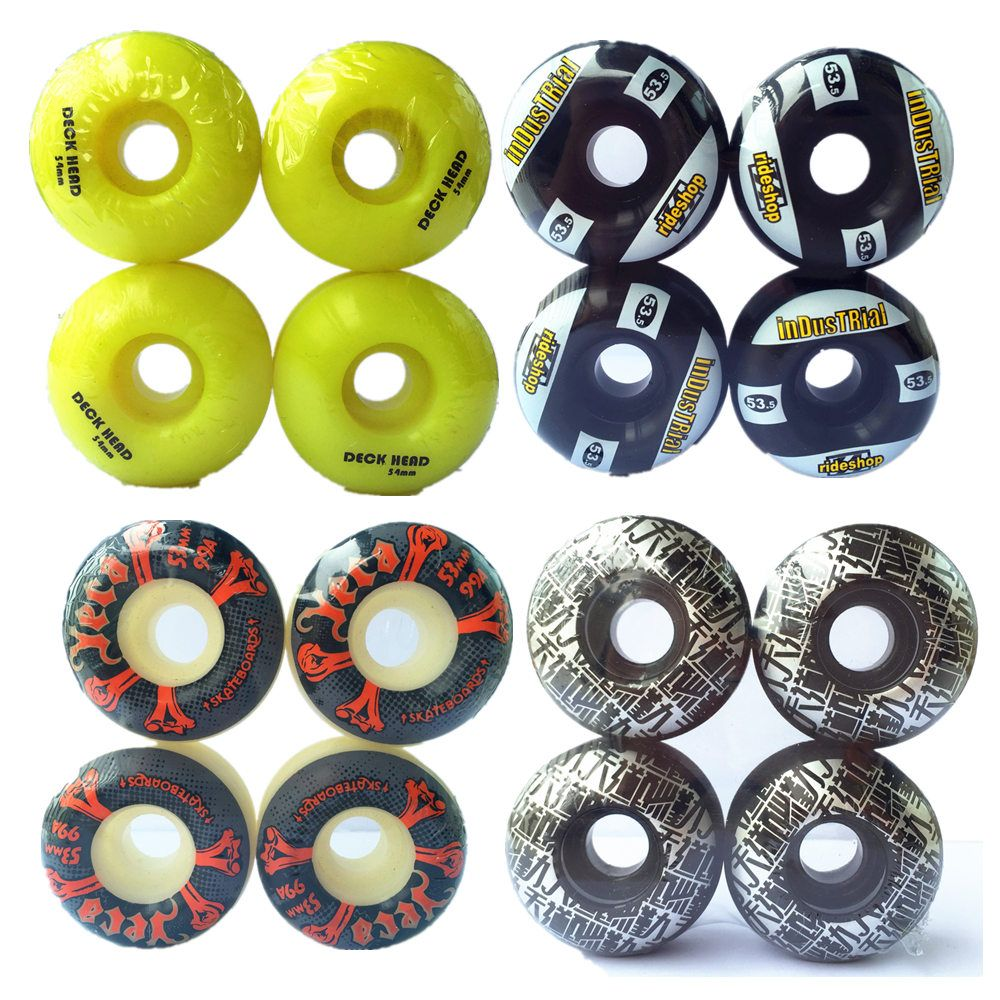 4 pièces Pro Skateboard Roues 52mm 101A Double Rocker Roulettes PU downspeed Roues coulissantes