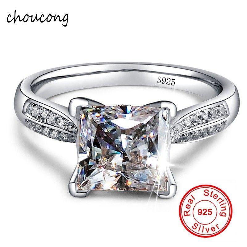 100% Solide 925 Anneaux D'argent Bijoux Grande Sona CZ Diamant de Fiançailles anneaux pour les Femmes Anneau Taille 4 5 6 7 8 9 10