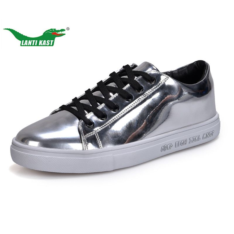 LANTI KAST Men Sequin Running Shoes Rubber Sole Non-slip Outdoor Sport Sneakers Men Gold Silver Jogging Leather Running Shoes