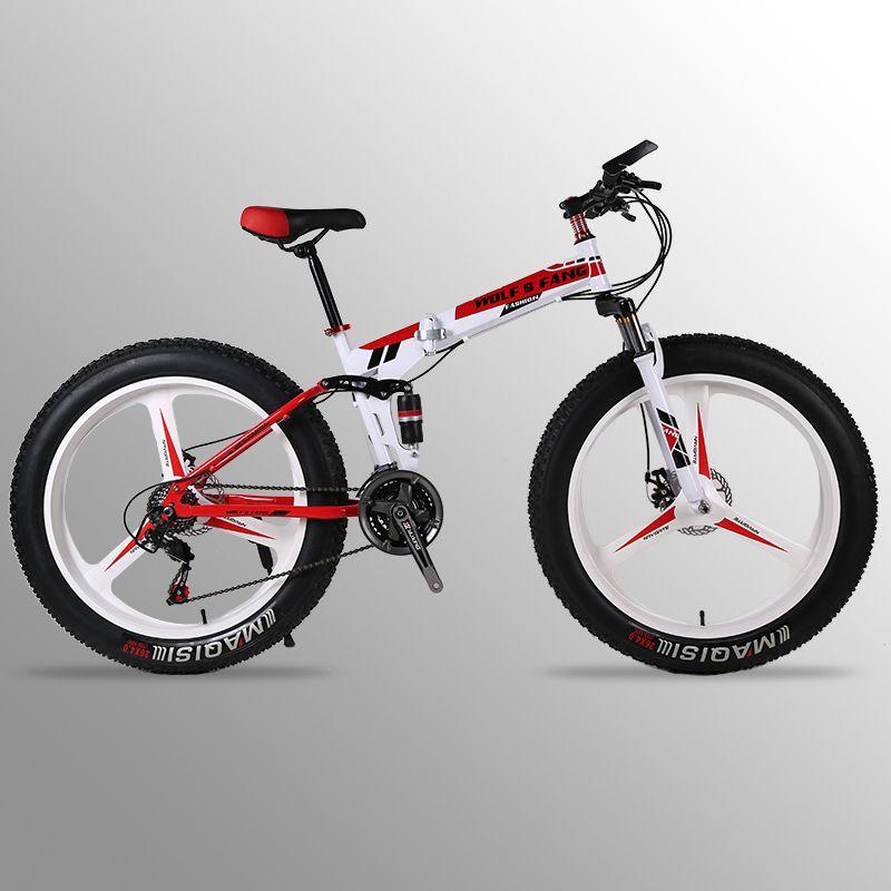 Mountainbike 24 geschwindigkeit 26x4,0 faltrad fett bike Doppel disc bremsen Fahrräder Schnee Bike Vorne und hinten dämpfung fahrrad straße