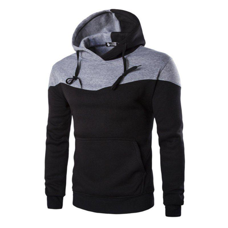 Mode homme automne hiver Hoodies homme Sudaderas Hombre Hip Hop hauts nouveau Hoodded décoratif poche Patchwork sweat