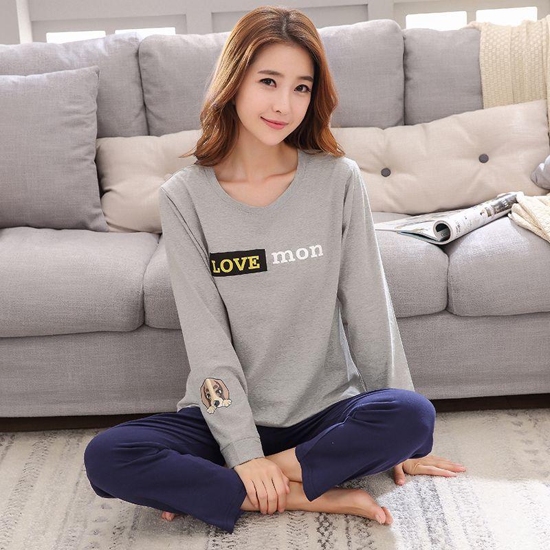 Hot Sale Quality 100% Cotton Pajamas Women Sweet Pijamas Young Lady Pajama Sets Sweet Girl Sleepwear Mujer femme Home Clothing