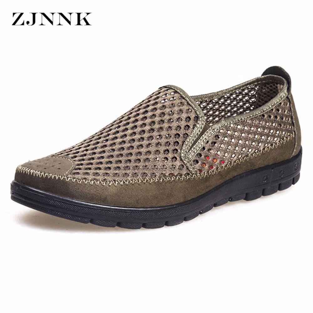 ZJNNK Summer Men Mesh Shoes Big Size Male Casual Shoes Breathable Slip-On Chaussure Homme Light Soft Men Summer Shoes Big Size