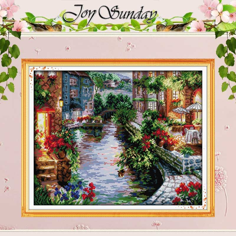 The Lakeside <font><b>Houses</b></font> Counted Cross Stitch 11CT 14CT Cross Stitch landscape Cross Stitch Kits for Embroidery Home Decor Needlework