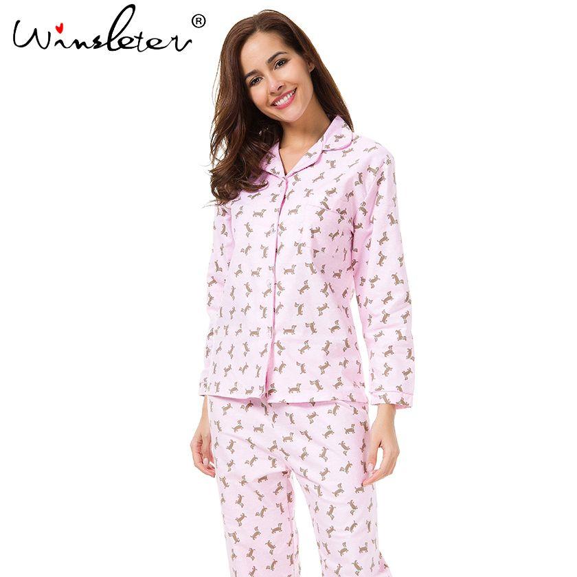2018 розовый Пижамы для девочек Для женщин Симпатичные такса принт Комплект из 2 предметов топ с длинными рукавами штаны с эластичной резинко...