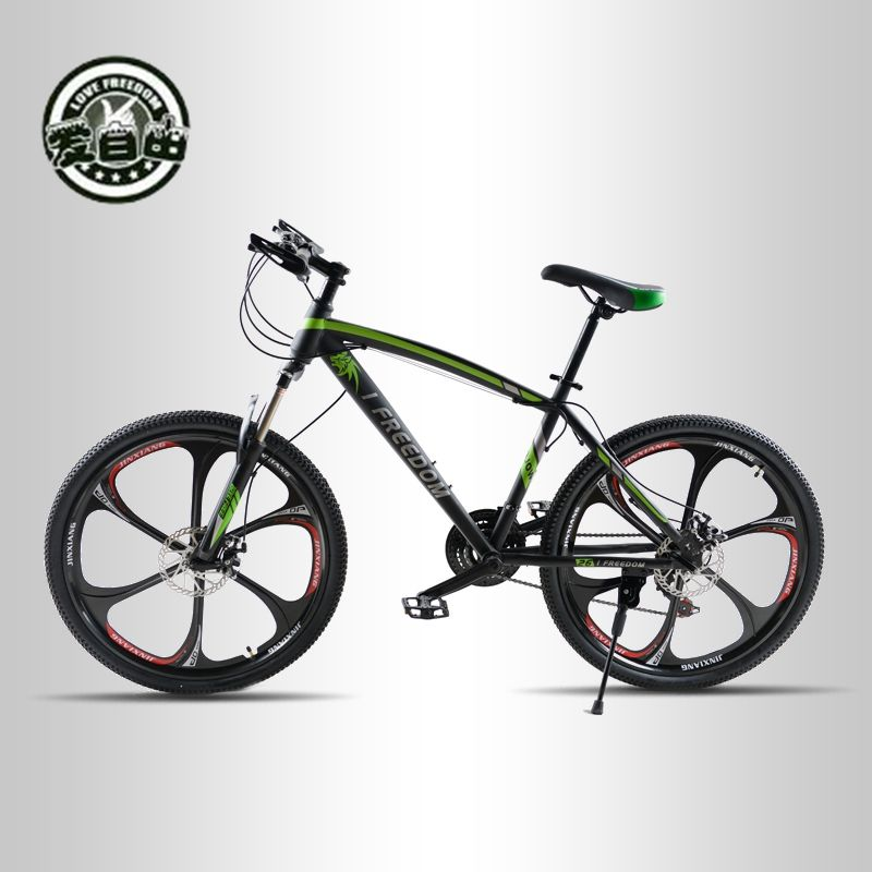 Love Freedom 21 Speed Mountain Bike 26-Inch High-Carbon Steel Dual Disc Brakes One Wheel Speed Damping Men Women Student Bicycle