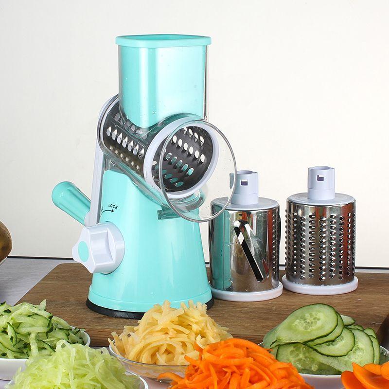 Coupe-légumes manuel Mandoline ronde trancheuse râpe pour carotte pomme de terre lames en acier inoxydable accessoires de cuisine Gadgets