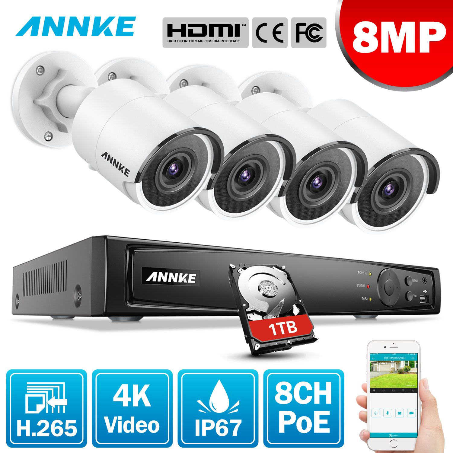 ANNKE 8CH 8MP Ultra HD PoE Netzwerk Video Security System 4K H.265 Surveillance NVR 4x8 megapixel HD IP67 POE CCTV Kugel Kameras