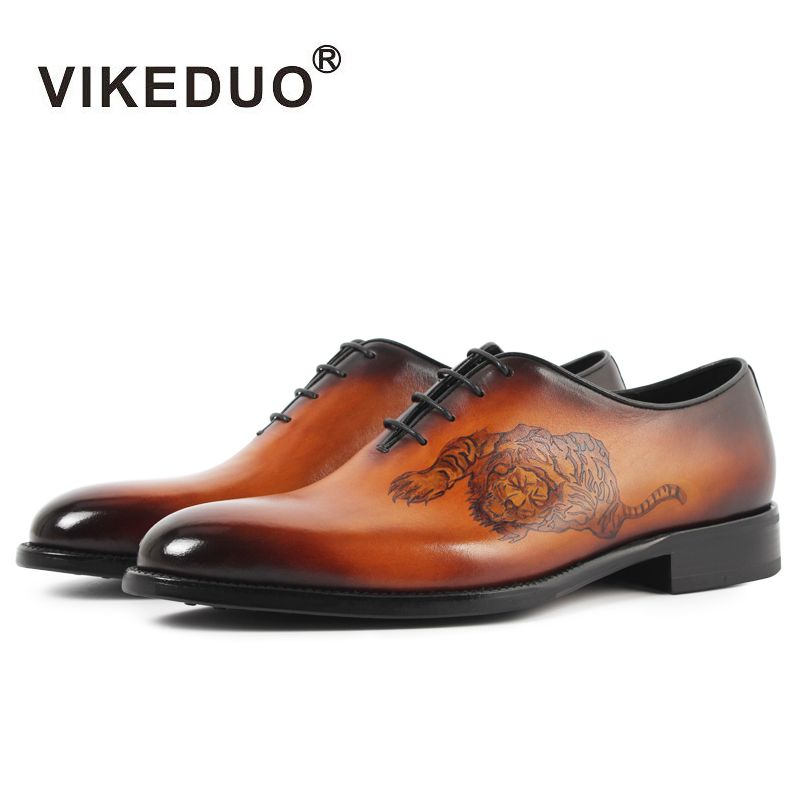 Vikeduo 2017 Handmade Italia Vintage retro Diseñador de la marca de zapatos Del Banquete de Boda vestido de baile masculino Hombres De Cuero Genuino Oxford Zapatos