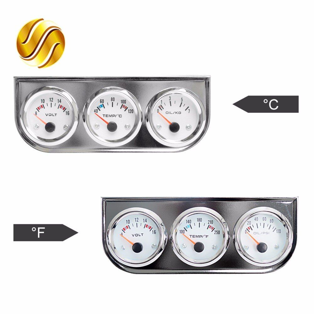 Dragon Gauge Car Triple Gauge Kit Volts Water Temp Celsius / Fahrenheit Oil Press KG / PSI 3 In 1 Kit Chrome Meter White Dial
