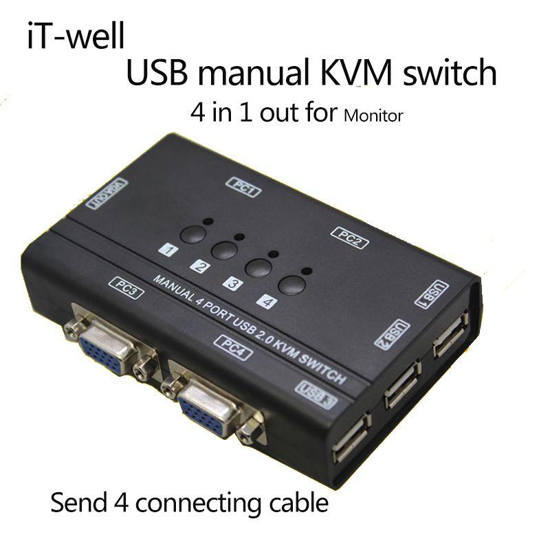 Es-gut 4 Ports KVM Switch Control 4 STÜCK Hosts durch 1 Satz von Usb-tastatur Maus und VGA Monitor Multi PC Verwalten Original Kabel
