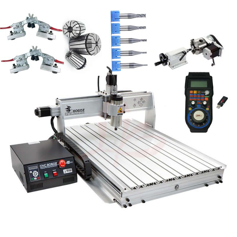 CNC 8060 2.2KW 4 axis CNC router wood carving machine USB Mach3 control Woodworking Milling Engraver with Cooling