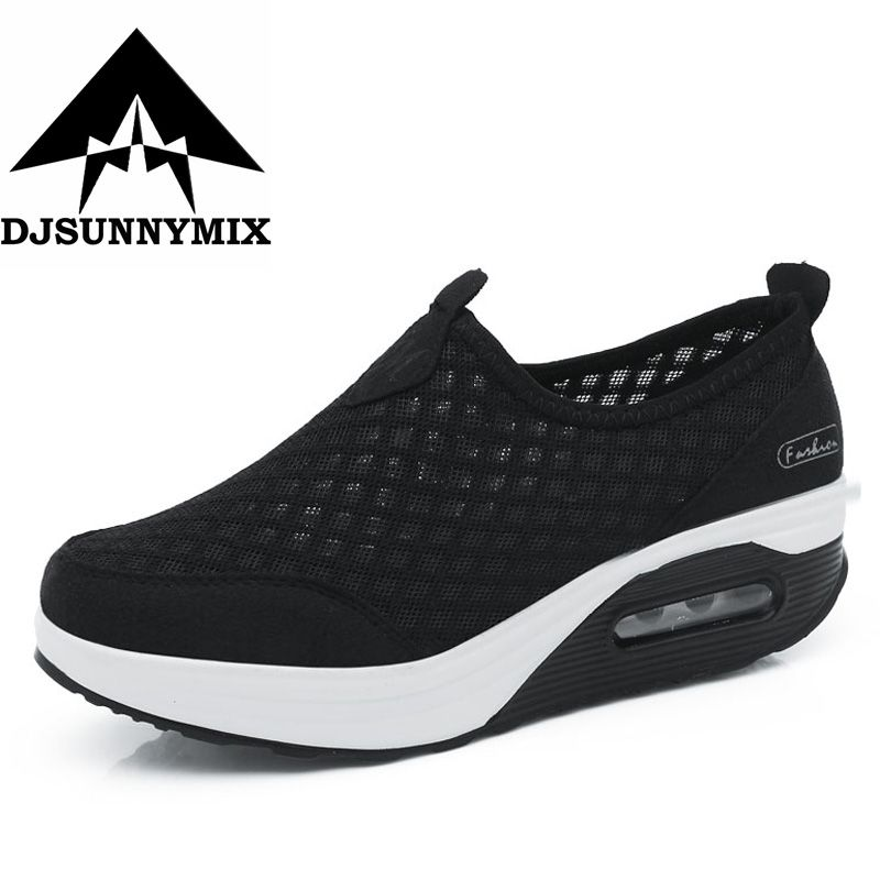 DJSUNNYMIX Marque 2018 Femmes Casual sneakers Minceur Plate-Forme Plat Chaussures De Mode Mesh Tissage Respirant Fitness Lady Chaussures