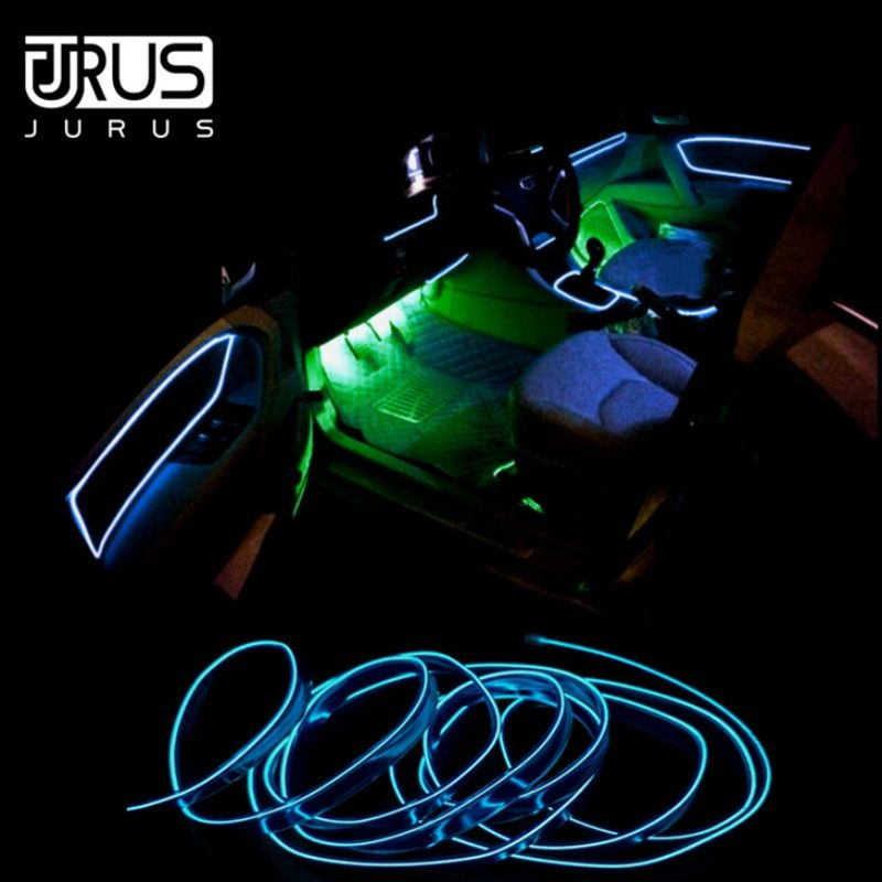 JURUS 3Meter Flexible Rope Neon Tape For Car Light Glow El Wire 12V Led Strip Lights Cable Cold Line Decorative Lamp Car-styling