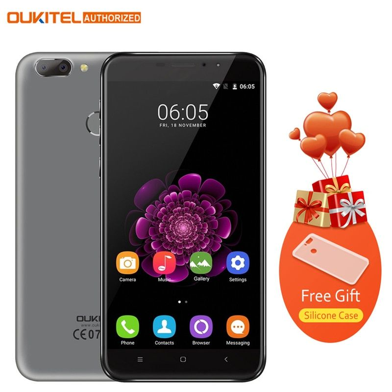 Original <font><b>Oukitel</b></font> U20 Plus Android 6.0 4G Mobile phone 5.5 inch IPS FHD MTK6737T Quad Core 13MP 2GB 16GB Fingerprint Smartphone