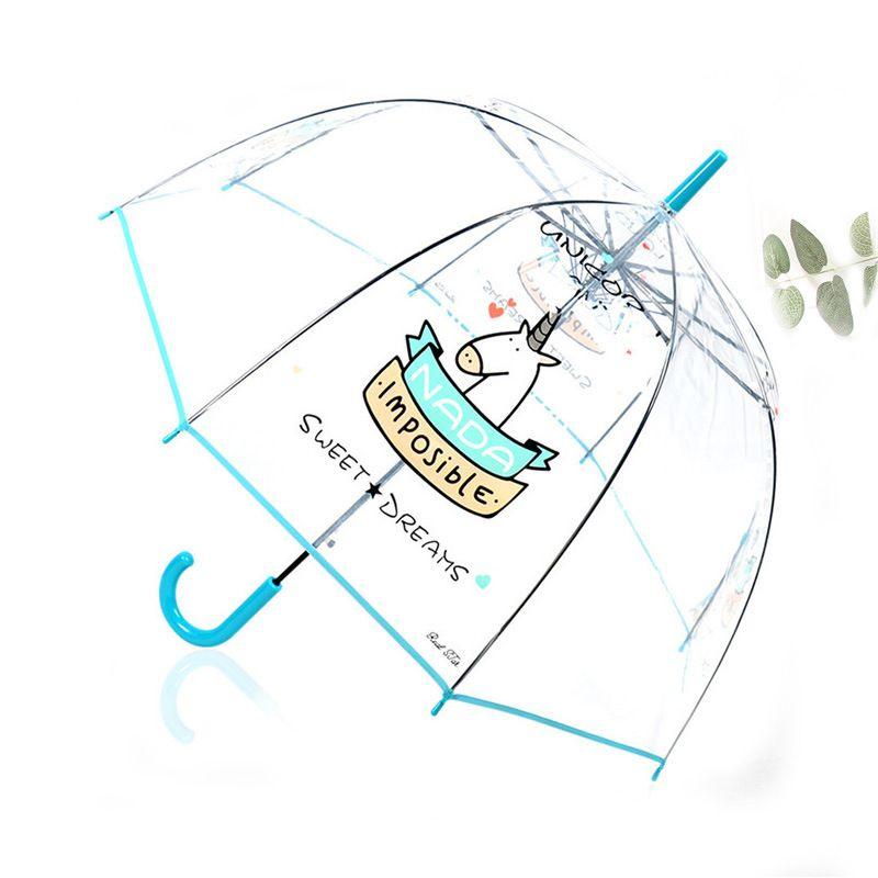 SAFEBET Cute Unicorn Transparent Umbrella Korean Long Handle Semi Automatic Apollo Arch Cartoon Panda Owl Umbrellas Dropshipping