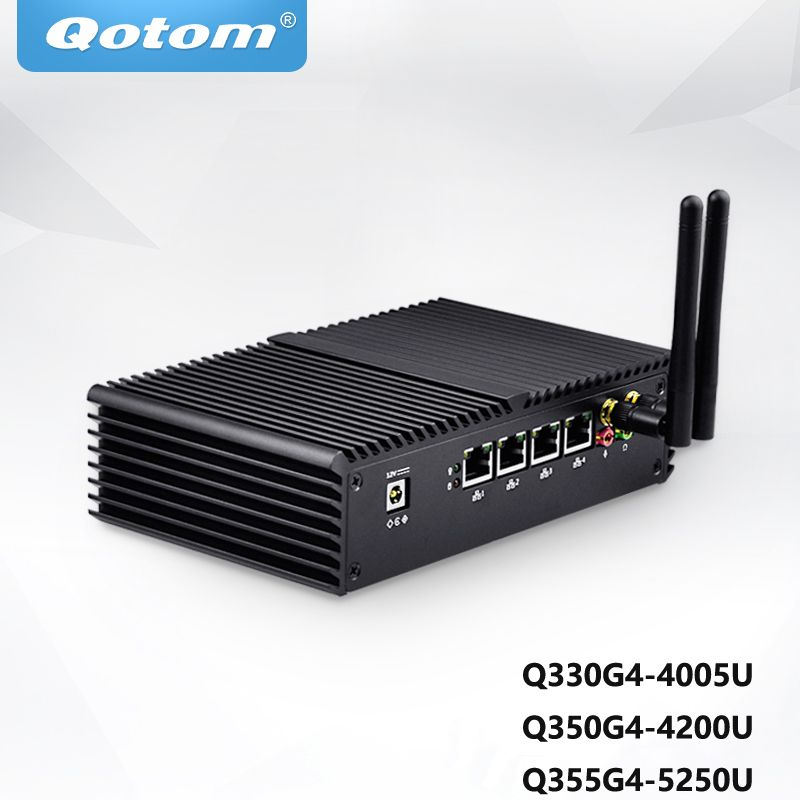 QOTOM MINI PC Core i3-4005U/Core i5-4200U/5200U 4 Gigabit LAN,Support AES-NI Pfsense Firewall Router WIFI Industrial Computer
